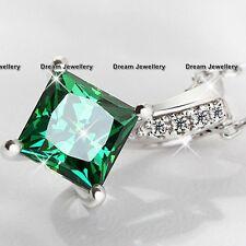 Emerald Green Diamond Necklace Valentines Birthday Gifts for Her Women Girls V2