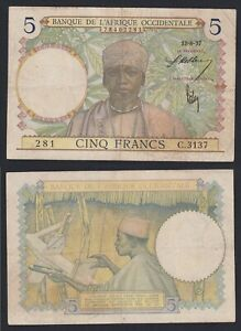 Africa Occidentale Francese 5 francs 1937 BB/VF  A-07