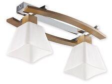 OAK - 2 FLUSH CEILING LIGHT - CHROME WOOD GLASS MODERN CLASSIC SHADE LAMP LED