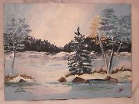 "Oil painting winter wilderness nature scene 9"" x 12"" vintage signed ? art decor"