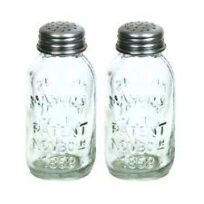 Glass Mason Jar Salt and Pepper Shakers Rustic Kitchen Dining Decor