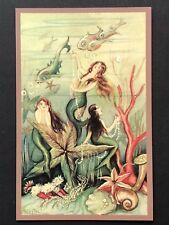 repro vintage postcard Undersea Mermaid Sisters starfish Pleiades Press p198 Nos