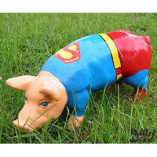 SCHWEIN KUNSTBEMALUNG SUPERMAN 40 cm FERKEL Deko Garten Tier Figur KINO FILM