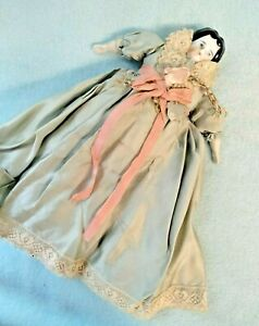 """💙 Antique German 8"""" China Head c1890 Doll in Pastel Silk~Lovely tlc!"""
