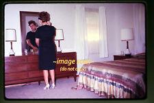 1967 Woman in Retro Bedroom Mirror, Original Photo Slide a28b