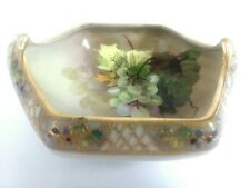 ANTIQUE NIPPON HAND PAINTED GRAPES BEADED GOLD, CANDY TIDBIT DISH BOWL