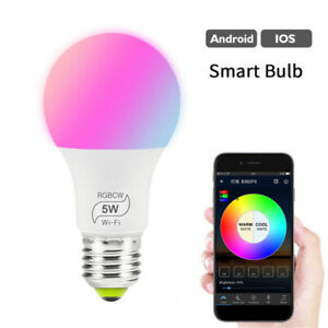 5W Bluetooth Wireless Dimmable Smart RGB E27 APP Remote Control LED Light Bulb