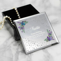 Personalised Floral Butterfly Diamante Mirrored Glass Trinket Box