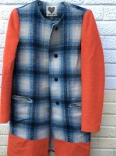 MADE FOR LOVING Wool Coat Tommy Checks 8 / 36  Orange / Blue