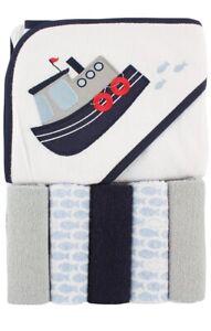 NWT 5 Washcloths & Hooded Towel Gift Set Boys Baby Shower tugboat