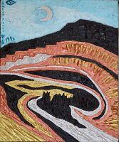 British Randa Fawzi (1952) ABSTRACT EXPRESSIONIST OIL PAINTING ART Algeria