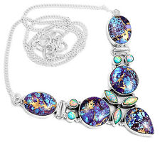 21g Copper Purple Turquoise & Fire Opal 925 Silver Necklace Jewelry SN16318