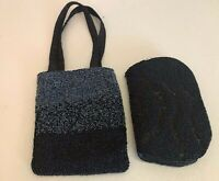 2 BLACK BEADED PURSES ONE CLUTCH &  ONE SMALL BEADED BLACK BAG MADE IN INDIA