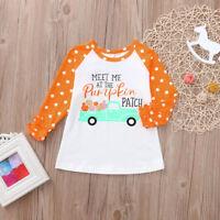 Toddler Kids Baby Girls Ruffle Letter Pumpkin Tops T-Shirt Halloween Clothes