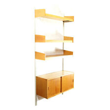 Retro Vintage Danish Reska Oak Wall System Bookcase Cabinet Wall Shelving 60s