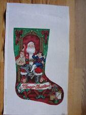 Merry Christmas Santa Visit Children Needlepoint Stocking Liz Goodrick-Dillon