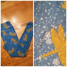 LuLaRo Leggings OS One Size Dragonfly gold dragonflies on blue