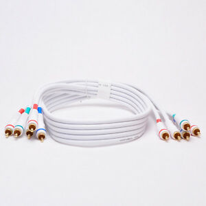5-RCA Component Video/Audio Coaxial Cable RG-59/U for HDTV DVD White 3Ft - 25Ft