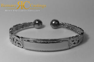 7.5 Inch William Morris Style ID Bangle 925 Solid Sterling STAMPED Platinum D...