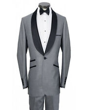 Men Gray Suit Designer Grooms Wedding Black laple Tuxedo Dinner Suit(Coat+Pant)