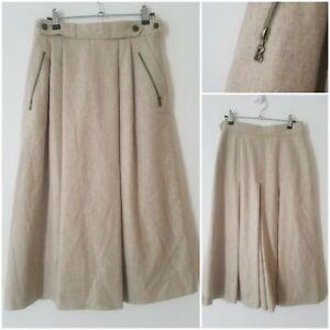 Vintage Smart 100% Wool Office Work Pleated A Line Beige Midi Skirt Size 8
