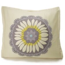 Amy Butler Lace Work Euro Sham Floral Embroidery Blue Yellow 100% Organic Cotton