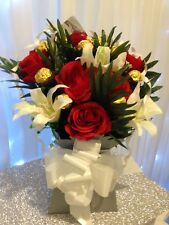 Handmade Ferrero Rocher Chocolate Flower Bouquet Red Silk Roses and White Lilys