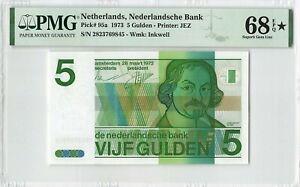 Netherlands 5 Gulden 1973 Vondel Pick 95 PMG Superb Gem UNC 68 EPQ STAR