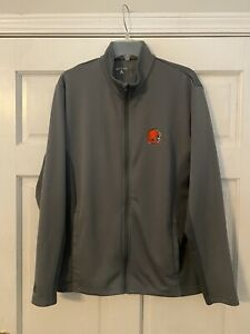 Men's NFL Cleveland Browns Jacket, Large, Antigua, Gray, Polyester Full Zip
