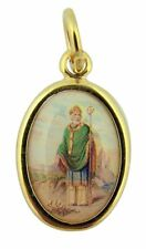 Gold Toned Base with Epoxy Image Catholic Saint Patrick Medal Pendant, 1 Inch