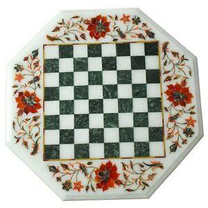 "15"" Marble Chess Table Top Carnelian Inlay Handmade Mosaic Floral Art Home Decor"