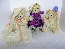Teddy Bears, Jointed, Party Dresses Hats & Balloons, Lot of 2