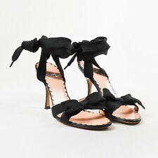 Moschino Cheap & Chic Black Leather Shoelace Ankle Wrap High Heel Sandals SZ 37