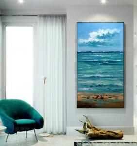 """HH013 Home decor Large Hand-painted art oil painting Sea Seagull Unframed 48"""""""