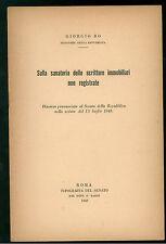 BO CARLO SULLA SANATORIA DELE SCRITTURE IMMOBILIARI NON REGISTRATE 1949