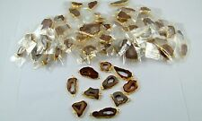 18K GOLD PLATED DRUZY SLICE BROWN WINDOW ALLOY CONNECTOR 100 PCS OVERLAY LOT