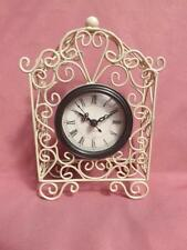 *ANTIQUE EFFECT CREAM  CLOCK ON STAND* METAL DESIGN MANTEL  NEW A