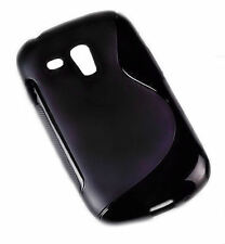 Rubber Silikon TPU Cover Black für Samsung Galaxy S3 Mini + Displayschutzfolie