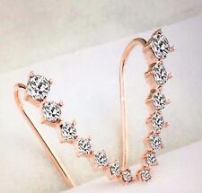 Womens Golden Long Crystal Stud Ear Hook Earrings Ear Crawlers