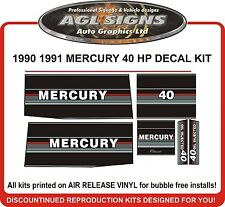 1990 1991  MERCURY 40 HP Outboard Decal kit reproductions oil injected