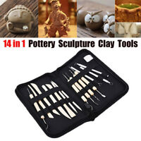 14Pcs Pottery Clay Sculpture Sculpting Carving Modelling Ceramic Hobby DIY Tools