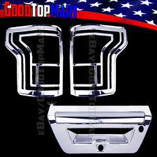 For Ford F150 2016 2017 Chrome Covers Set Taillights Lights+Tailgate WITH Camera