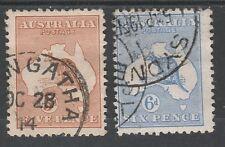 Australia 1913 Kangaroo 5D And 6D 1St Wmk Used
