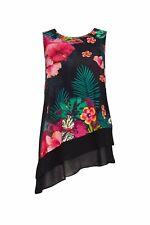 W Black Floral Print Top L