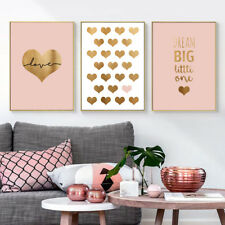 Golden Heart Canvas Nordic Poster Nursery Quote Wall Art Print Home Decoration