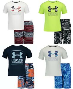 New Under Armour Little Boys 2-Pc. Rash Guard & Swim Trunks Set MSRP $44
