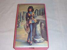 Vintage Mid Century Maio Groovy Mod Girl Harlequin Jewelry Trinket Box Kitsch