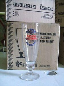 6 Bicchieri BIRRA NASTRO AZZURRO Peroni Trasparenti con logo. Bar Pub VINTAGE