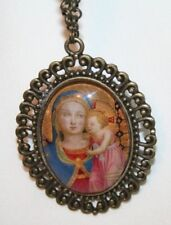 Swirled Brasstone St Anne de Beaupre with Child Mary Icon Medal Pendant Necklace