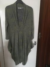 Adini Dress Grey with Green Splodges Assymetric Hem 3/4 Sleeves and Pockets FAB